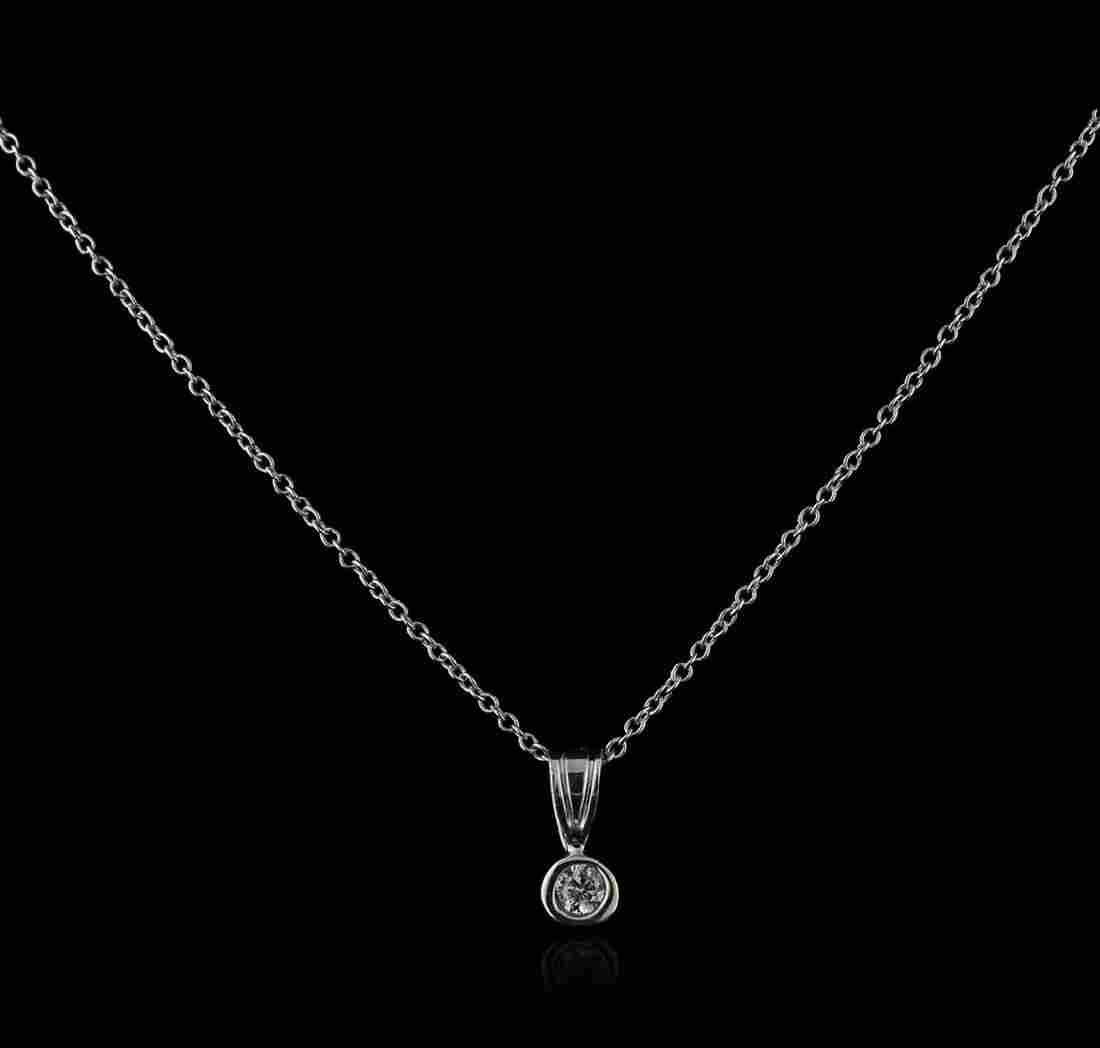 14KT White Gold 0.10 ctw Diamond Solitaire Pendant With