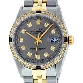 Rolex Mens 2T Yellow Gold  SS Slate Grey Diamond And