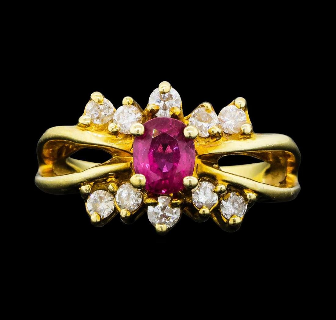 0.70 ctw Ruby and Diamond Ring - 14KT Yellow Gold - 2
