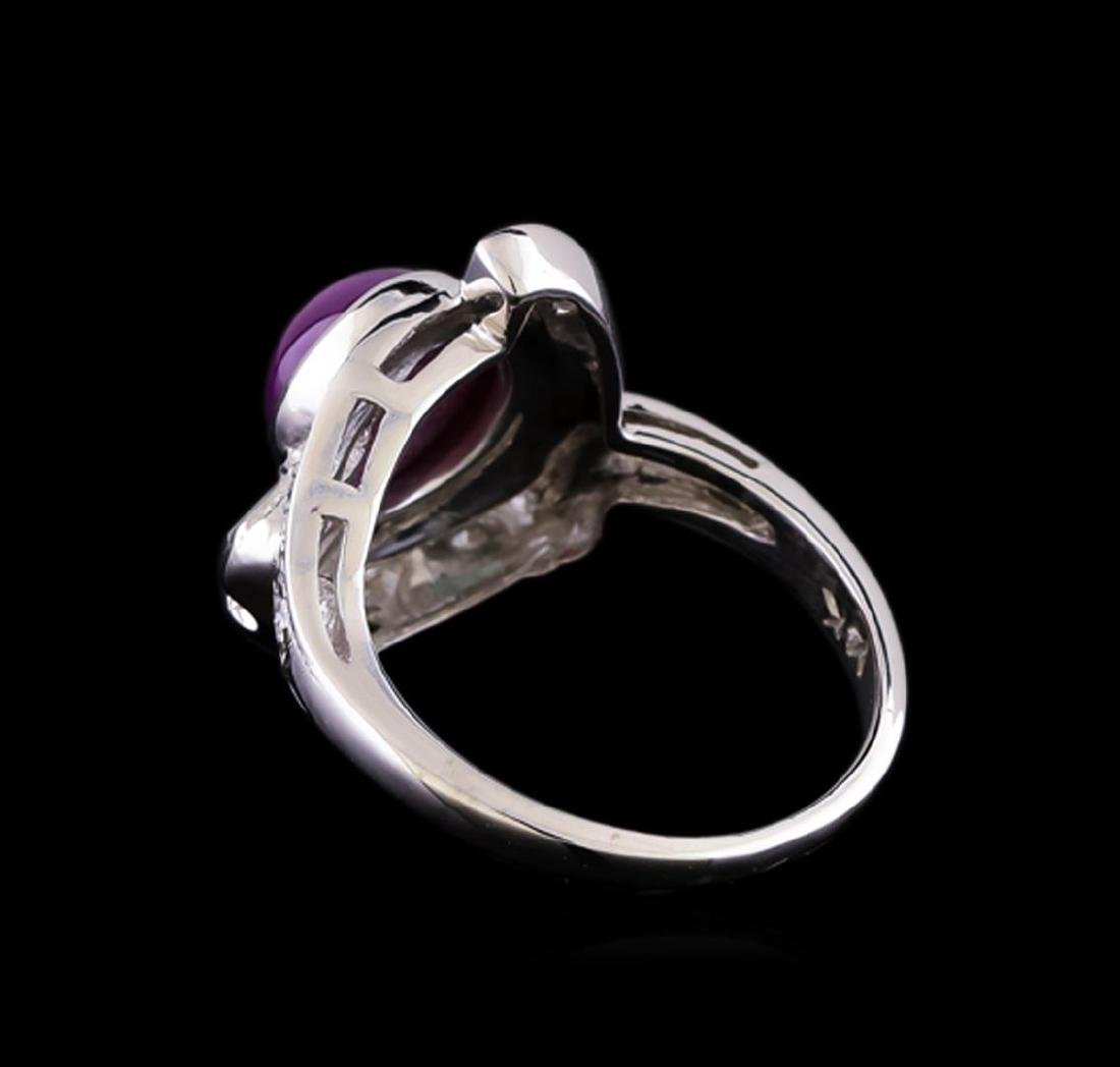 1.00 ctw Ruby and Diamond Ring - 14KT White Gold - 3