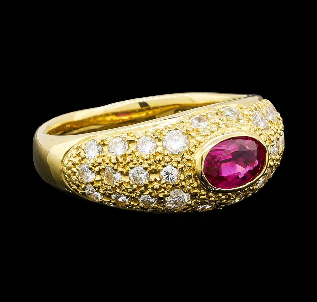 0.56 ctw Ruby and Diamond Ring - 18KT Yellow Gold