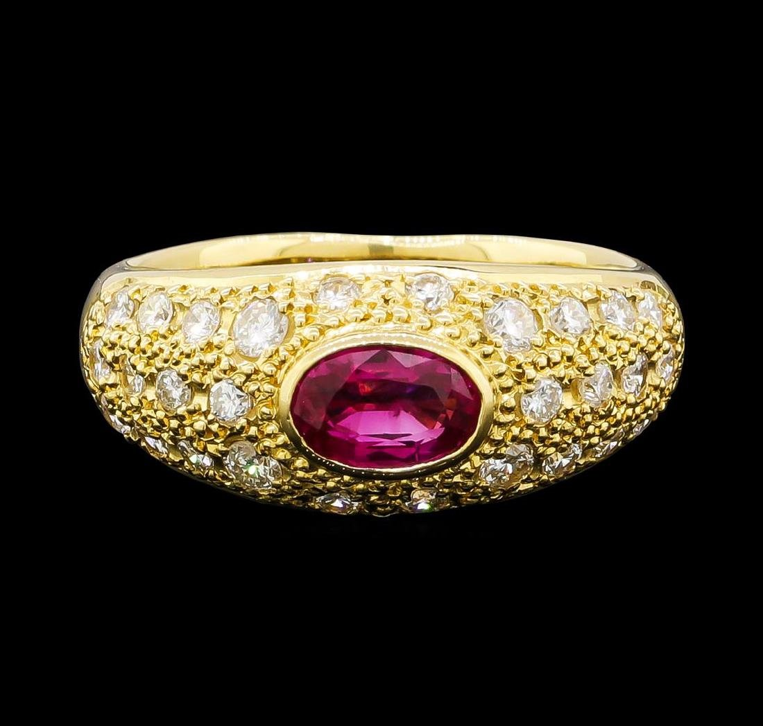0.56 ctw Ruby and Diamond Ring - 18KT Yellow Gold - 2
