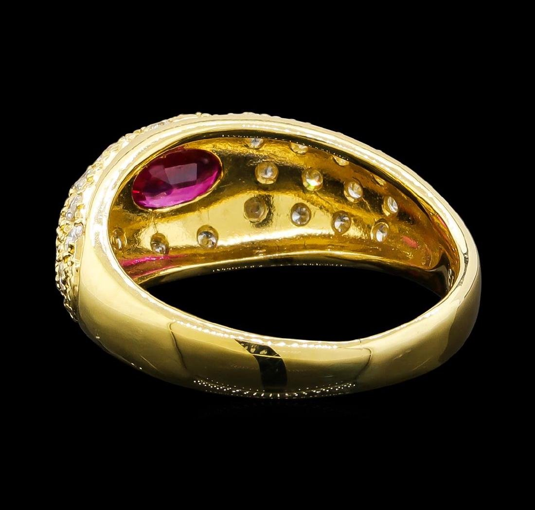 0.56 ctw Ruby and Diamond Ring - 18KT Yellow Gold - 3