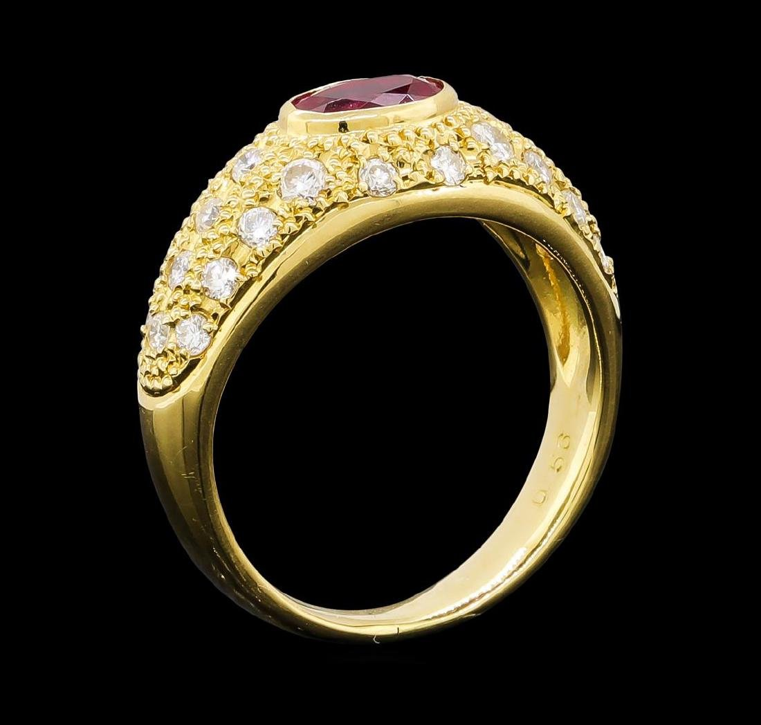 0.56 ctw Ruby and Diamond Ring - 18KT Yellow Gold - 4
