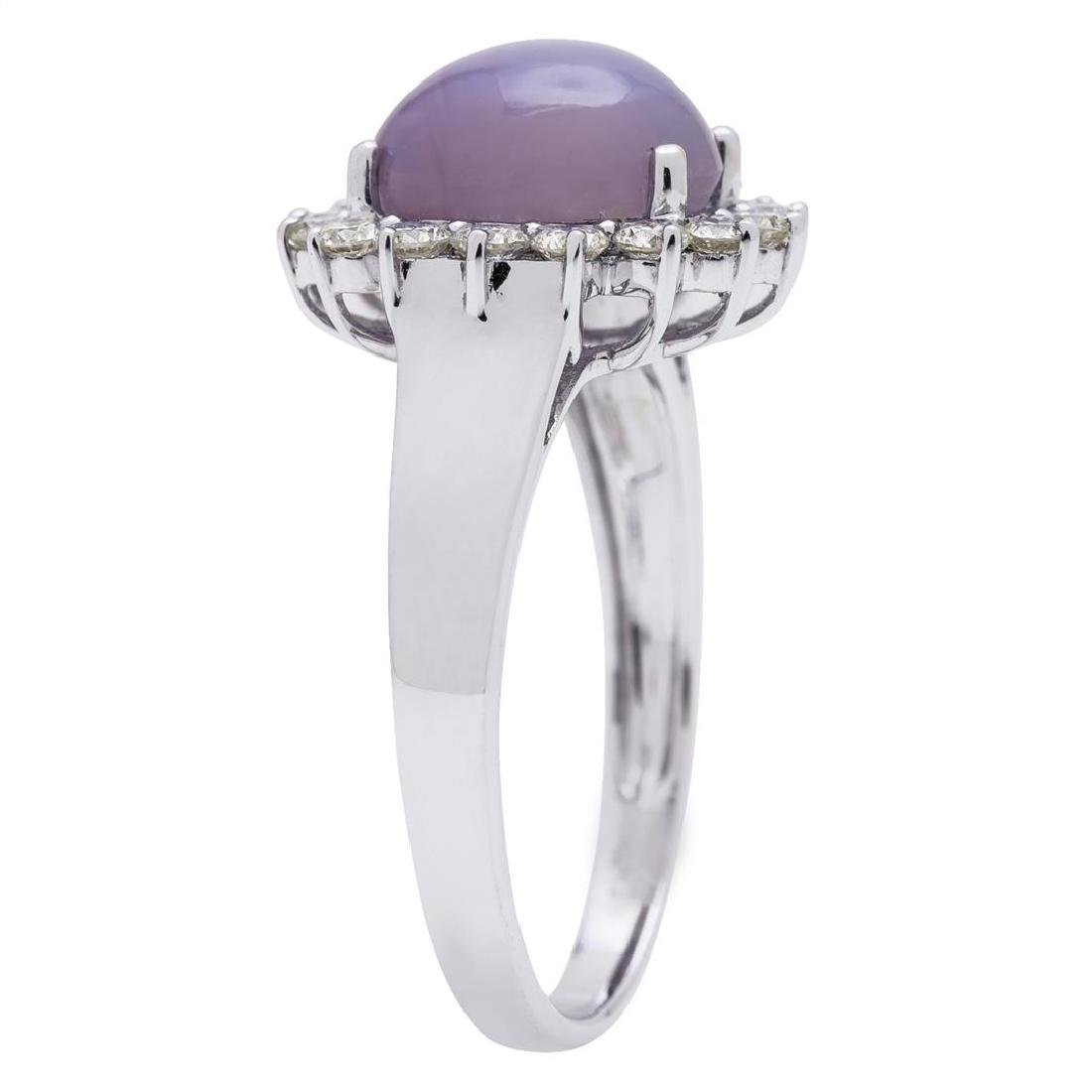 4.71 ctw Star Ruby and Diamond Ring - 18KT White Gold - 3