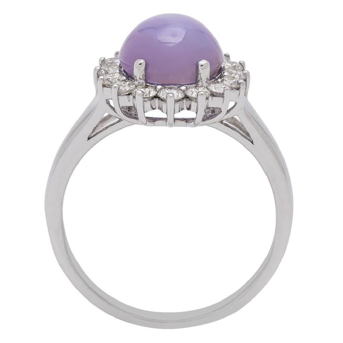 4.71 ctw Star Ruby and Diamond Ring - 18KT White Gold - 4
