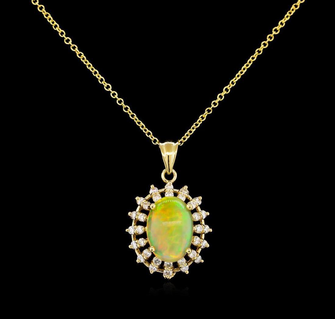 3.78 ctw Opal and Diamond Pendant - 14KT Yellow Gold