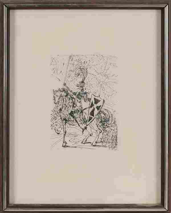"""Salvador Dali Original """"El Cid"""" Etching Print, Circa"""