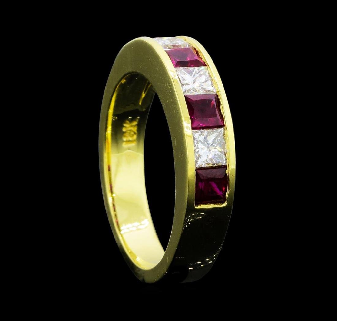 0.80 ctw Ruby and Diamond Ring - 18KT Yellow Gold - 4