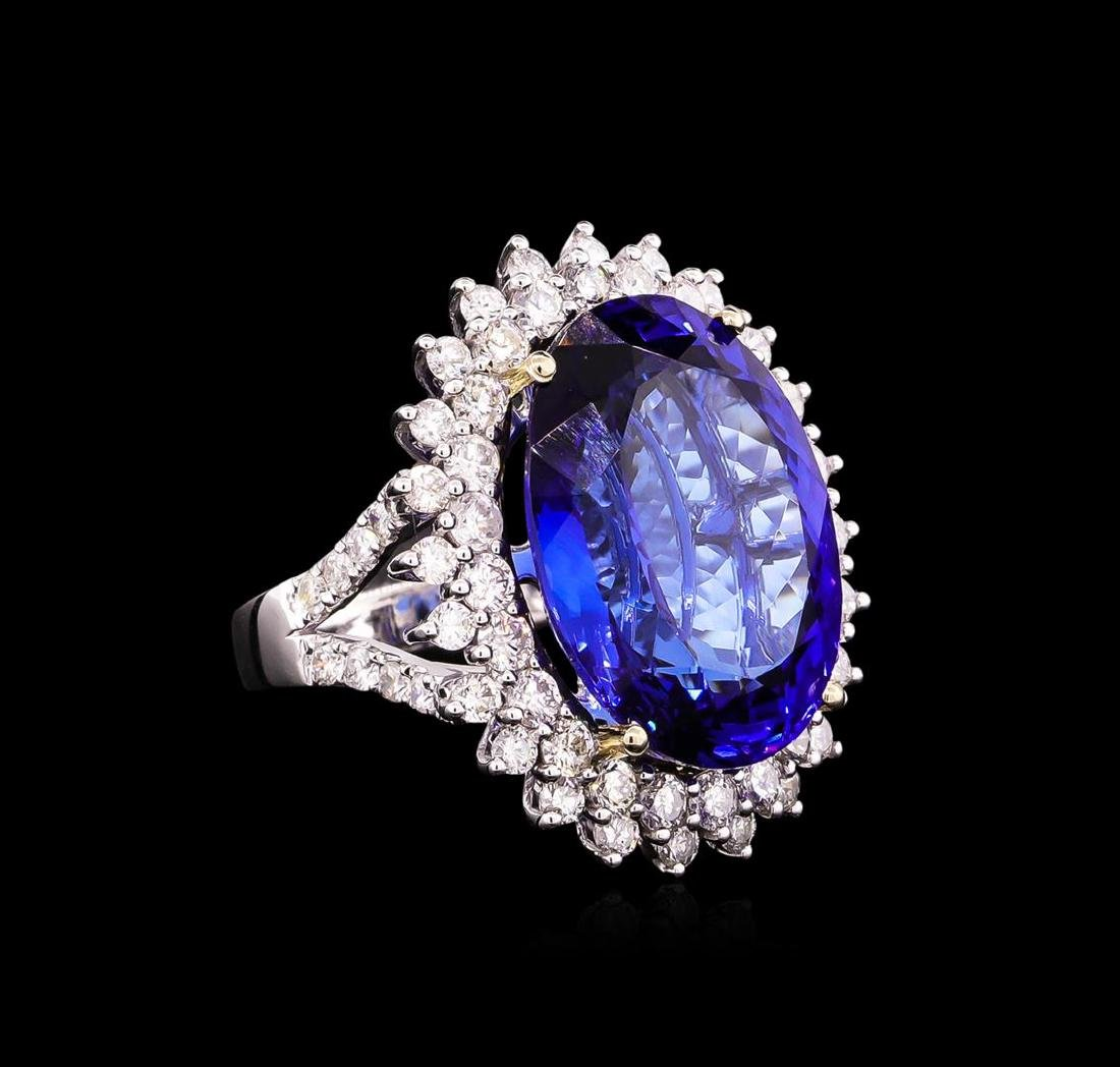 14KT White Gold GIA Certified 22.43 ctw Tanzanite and