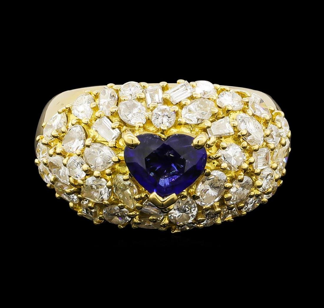 Sapphire and Diamond Ring - 18KT Yellow Gold - 2