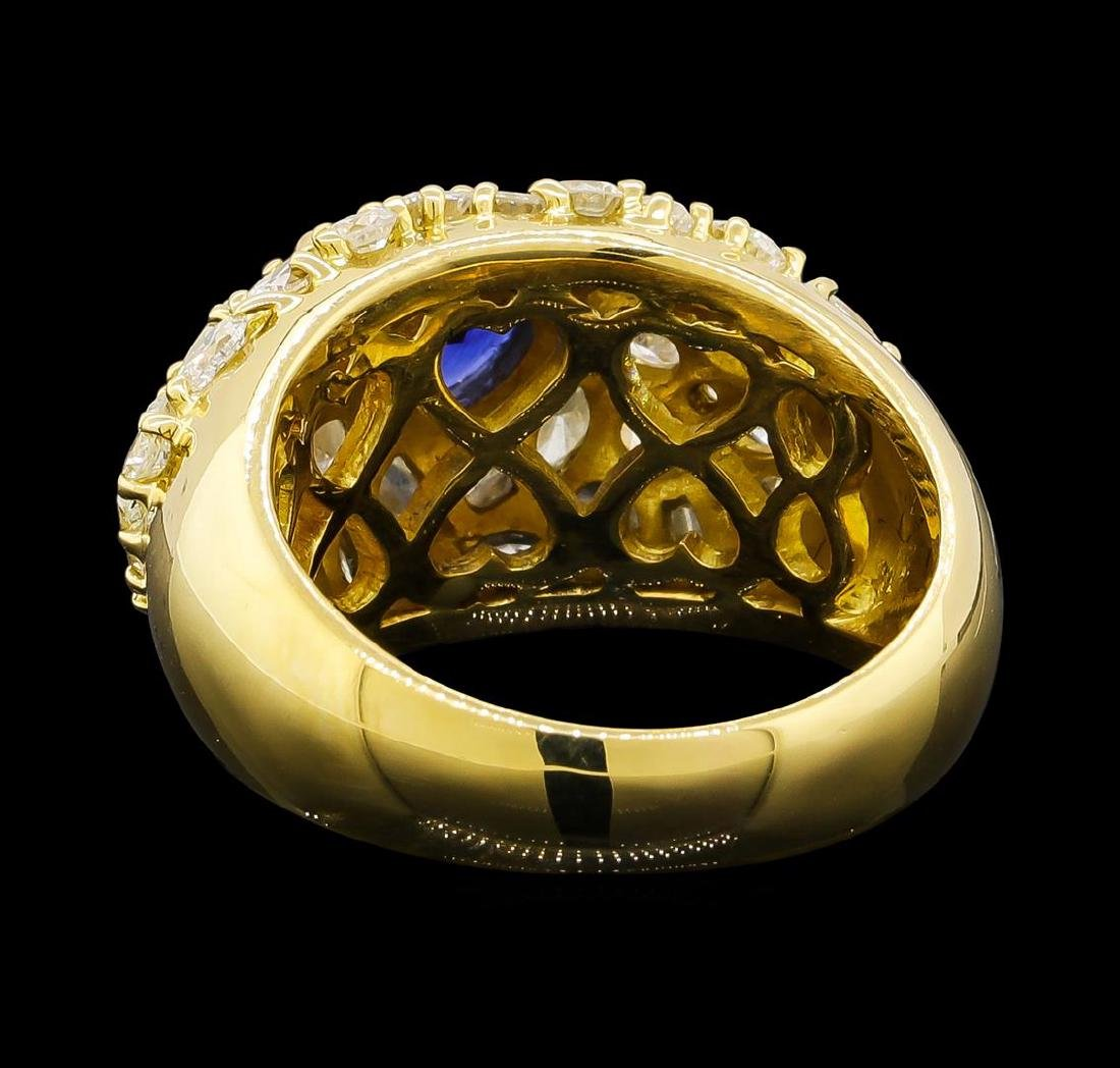 Sapphire and Diamond Ring - 18KT Yellow Gold - 3