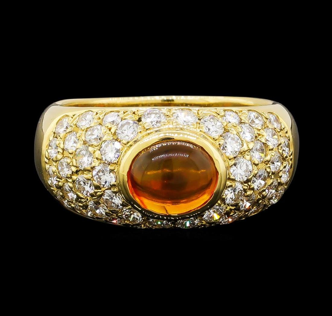 Mexican Opal and Diamond Ring - 18KT Yellow Gold - 2