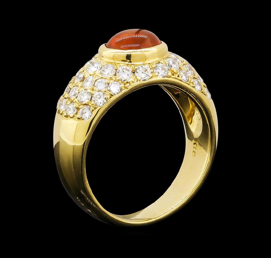 Mexican Opal and Diamond Ring - 18KT Yellow Gold - 4