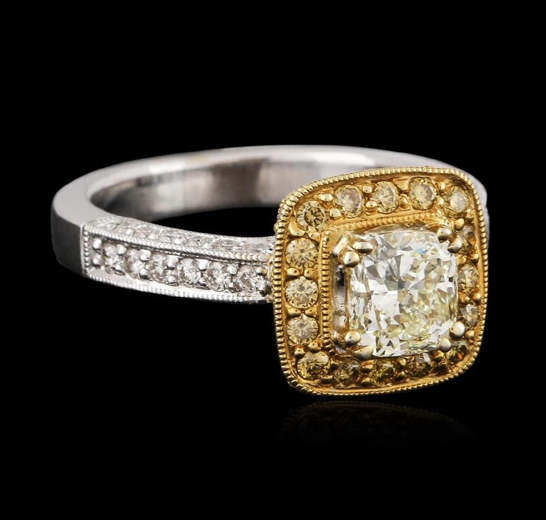 18KT Two-Tone Gold 1.43 ctw Fancy Light Yellow Diamond