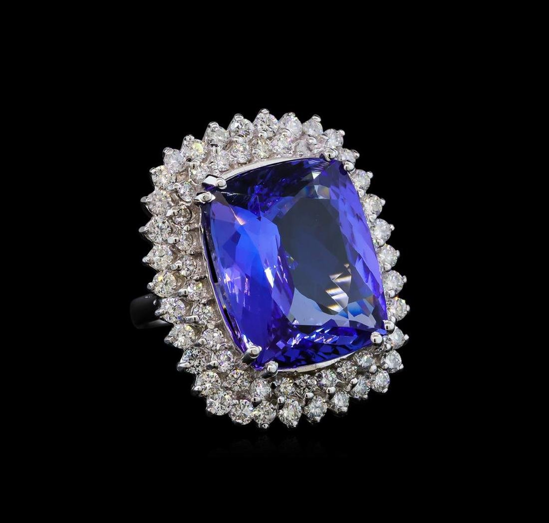 GIA Cert 22.59 ctw Tanzanite and Diamond Ring - 14KT