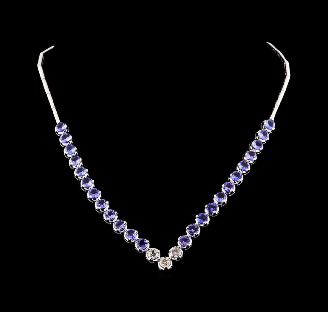 14KT White Gold 16.08 ctw Tanzanite and Diamond