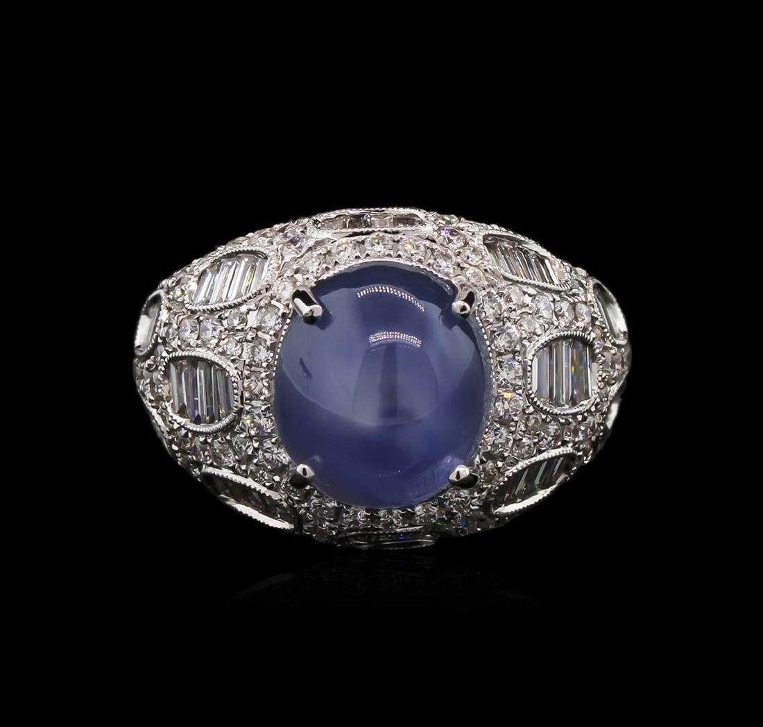 GIA Cert 8.75 ctw Star Sapphire and Diamond Ring - 18KT
