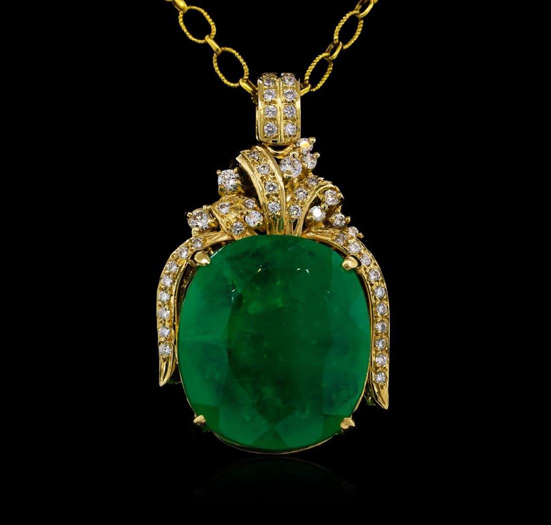 14KT Yellow Gold GIA Certified 50.88 ctw Emerald and
