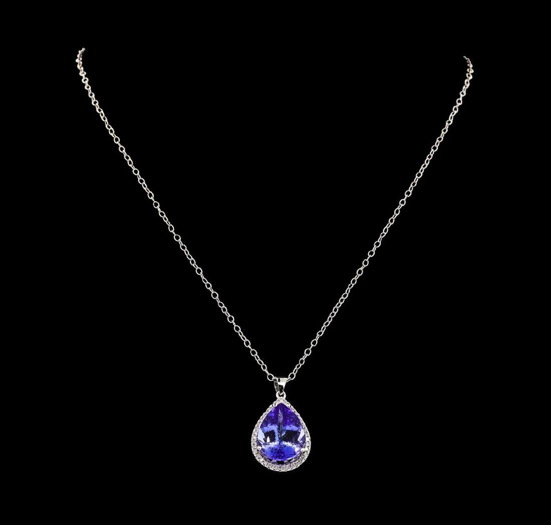 12.98 ctw Tanzanite and Diamond Pendant With Chain -