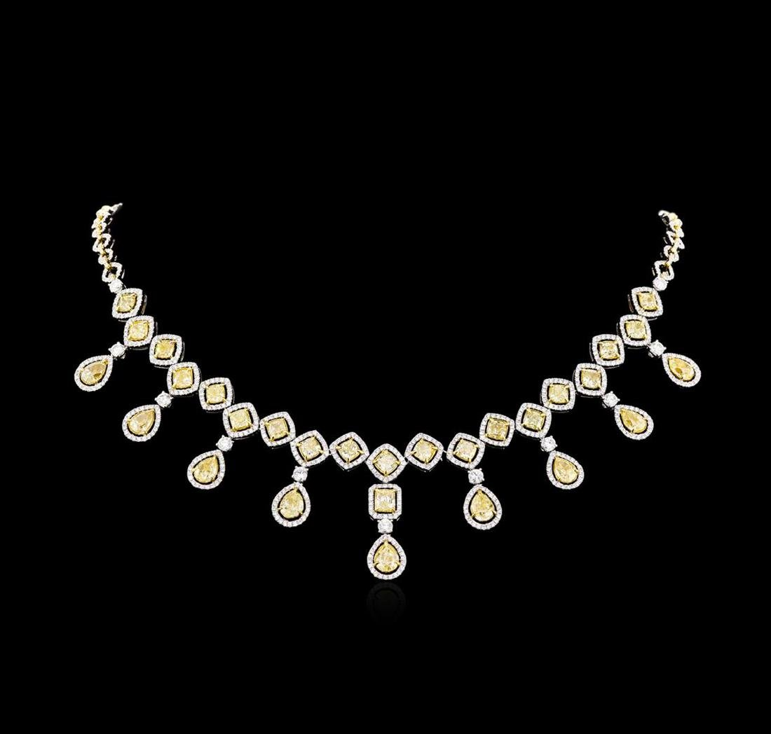 30.65 ctw Fancy Yellow Diamond Necklace - 18KT Two-Tone