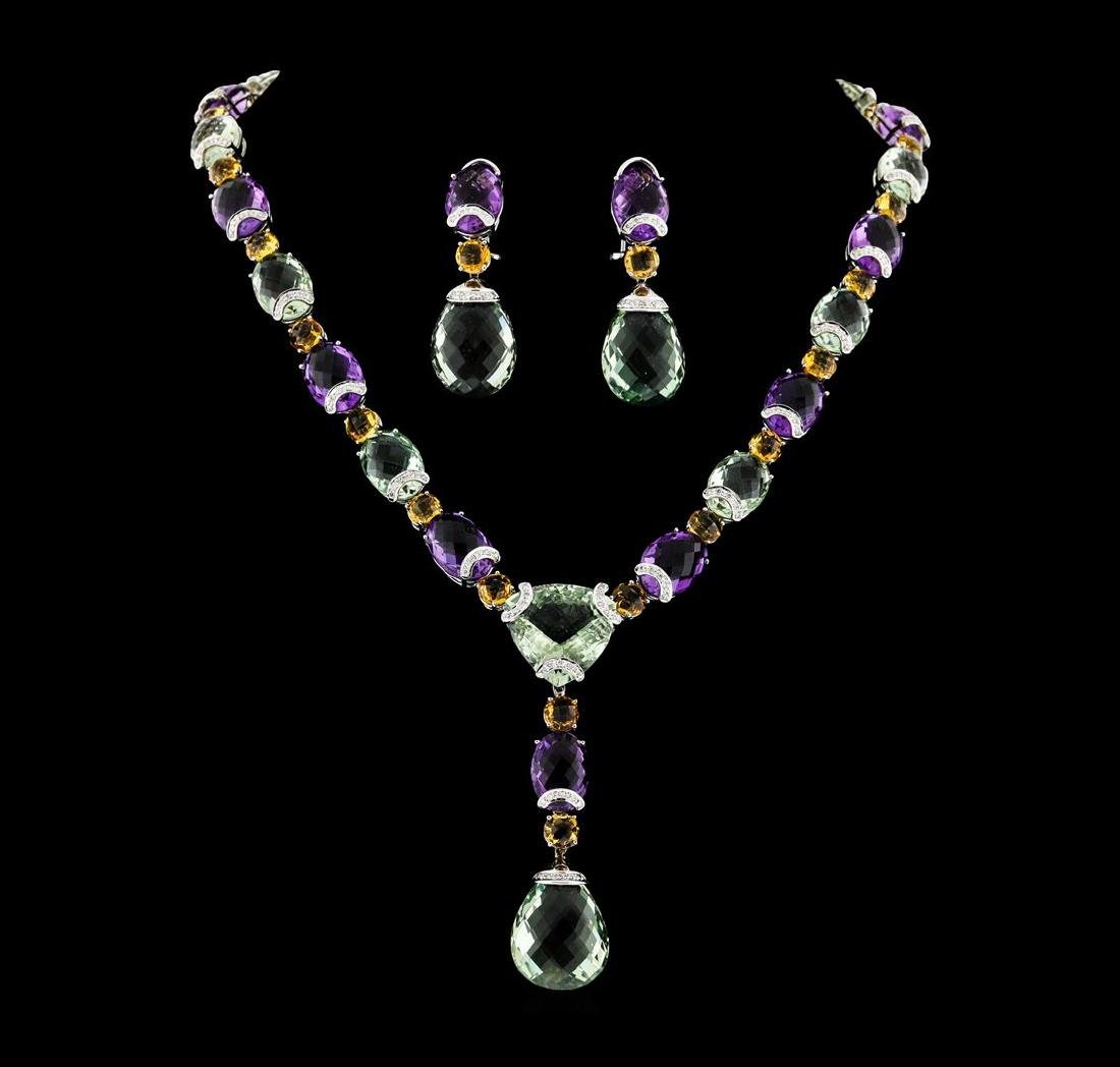 214.25 ctw Multi Gemstone Earrings and Necklace Suite -