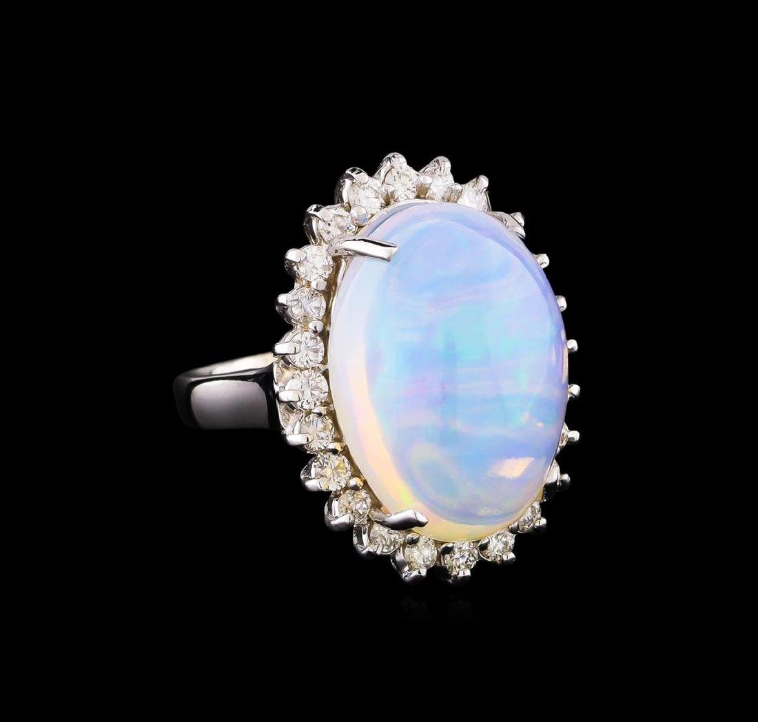 10.60 ctw Opal and Diamond Ring - 14KT White Gold