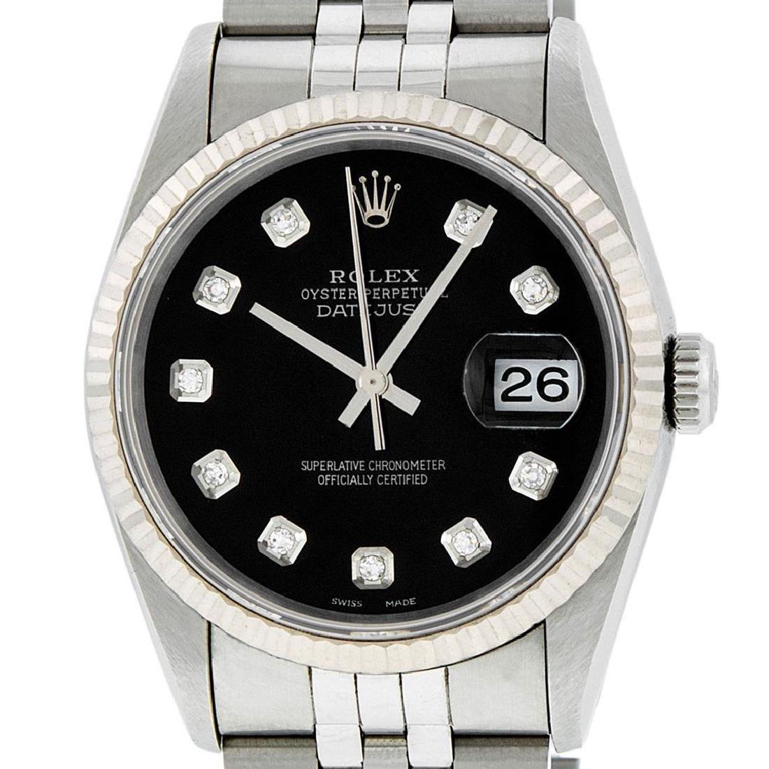 Rolex Mens SS Black Diamond Datejust Quickset Sapphire