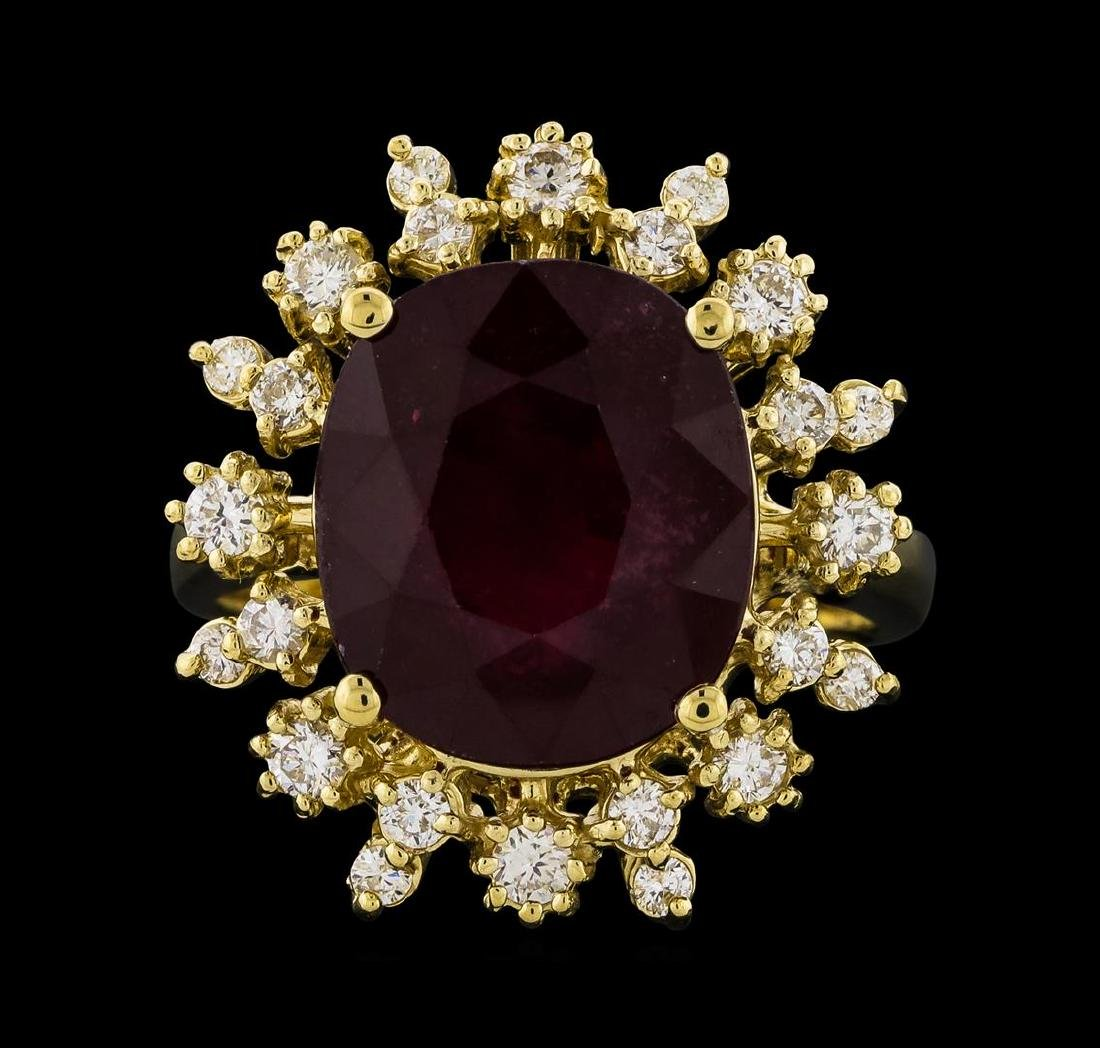 8.91 ctw Ruby and Diamond Ring - 14KT Yellow Gold - 2