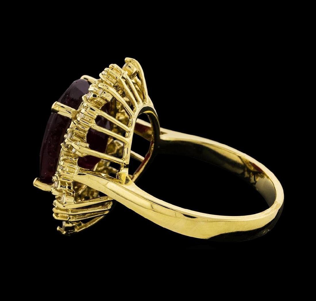 8.91 ctw Ruby and Diamond Ring - 14KT Yellow Gold - 3