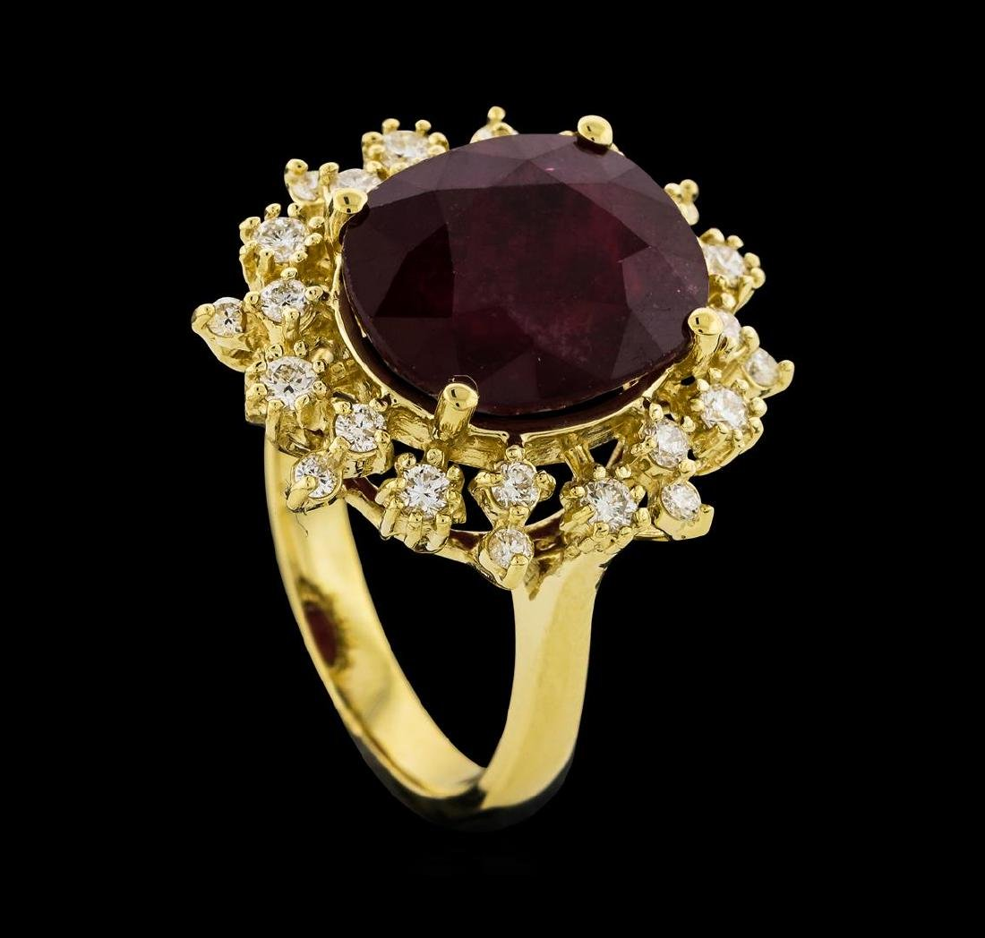 8.91 ctw Ruby and Diamond Ring - 14KT Yellow Gold - 4