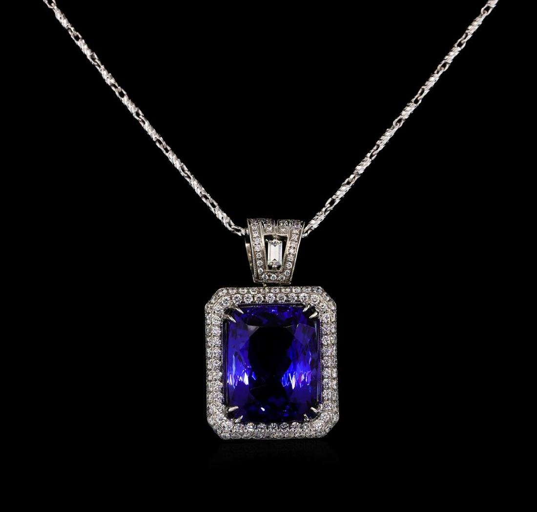18KT White Gold GIA Certified 16.95 ctw Tanzanite and