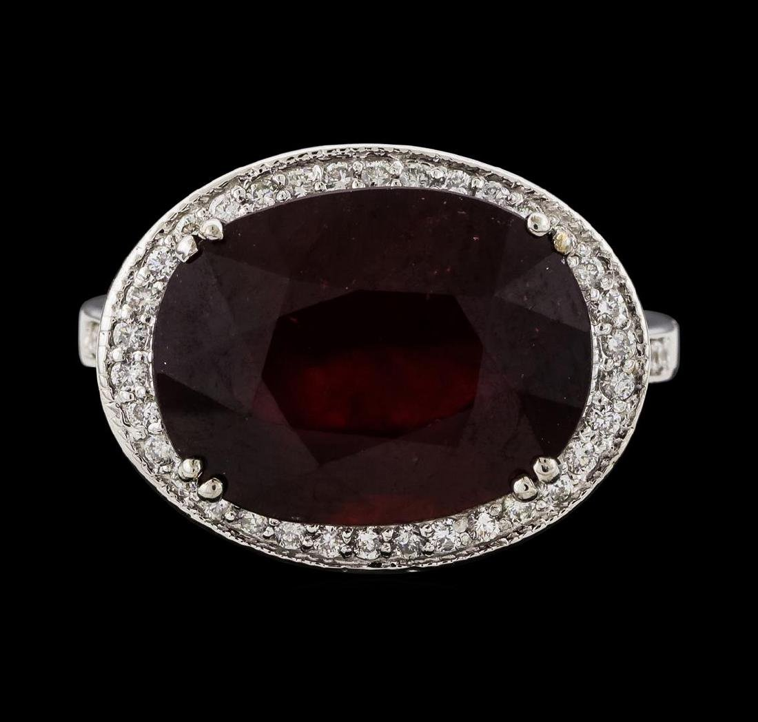 11.48 ctw Ruby and Diamond Ring - 14KT White Gold - 2