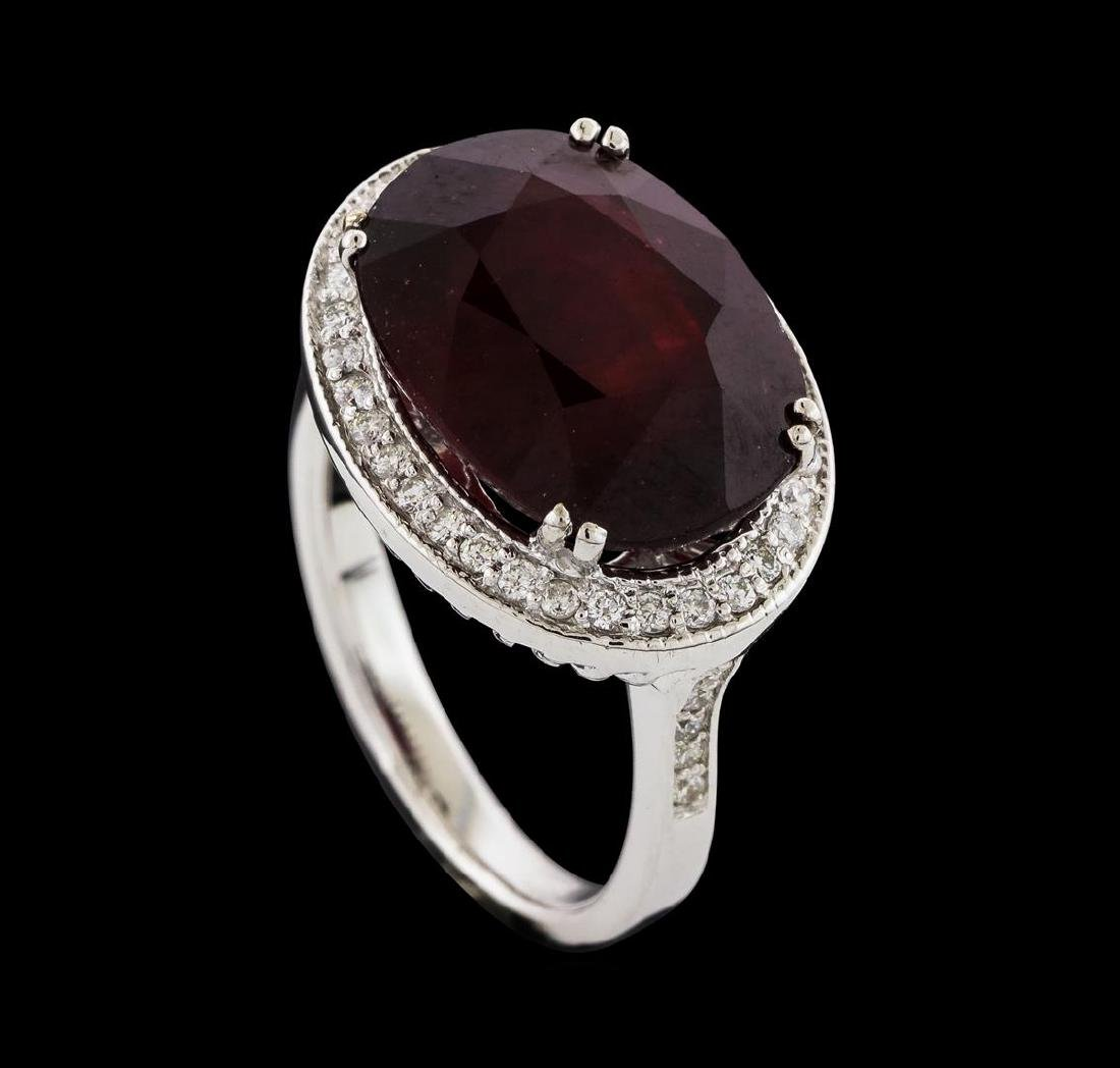 11.48 ctw Ruby and Diamond Ring - 14KT White Gold - 4