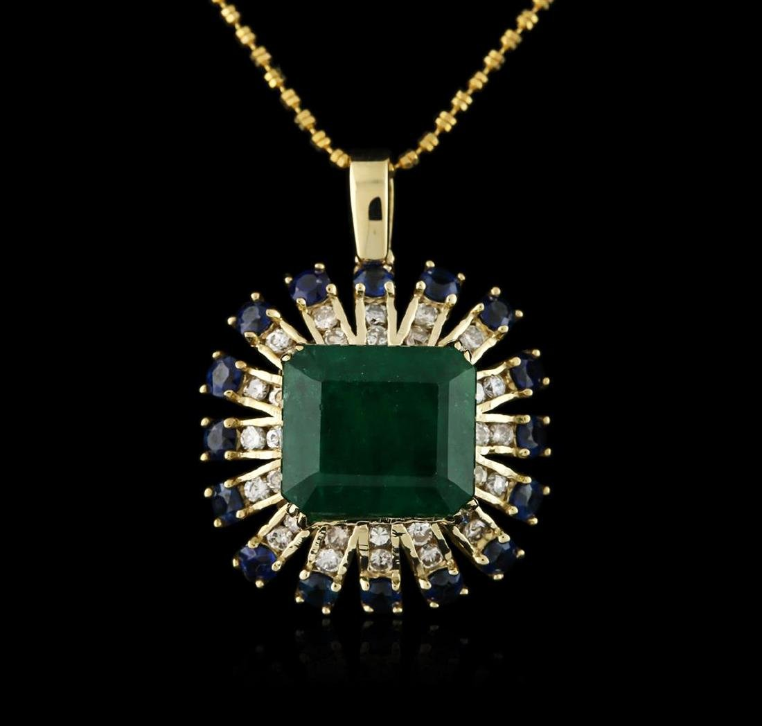 14KT Rose Gold 7.68 ctw Emerald, Sapphire and Diamond