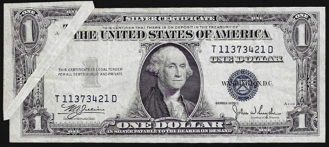 1935C $1 Silver Certificate Note Gutter Fold ERROR