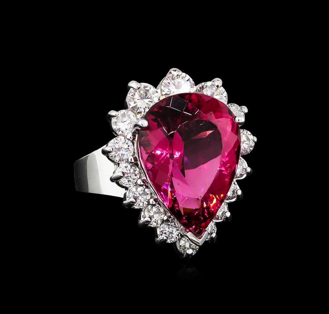 11.41 ctw Pink Tourmaline and Diamond Ring - 14KT White