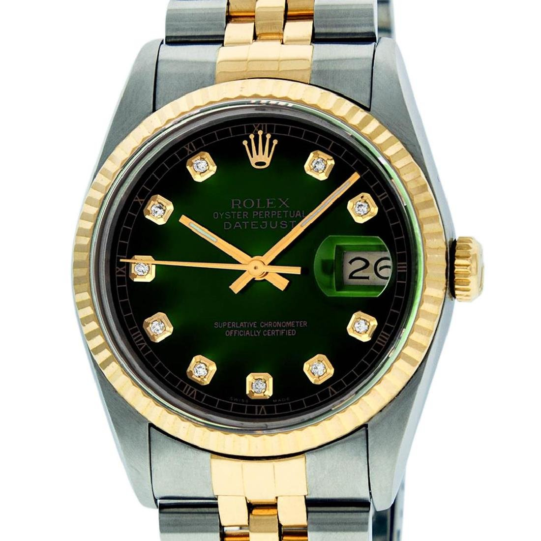 Rolex Mens 36mm Two Tone Yellow Gold Green Vignette