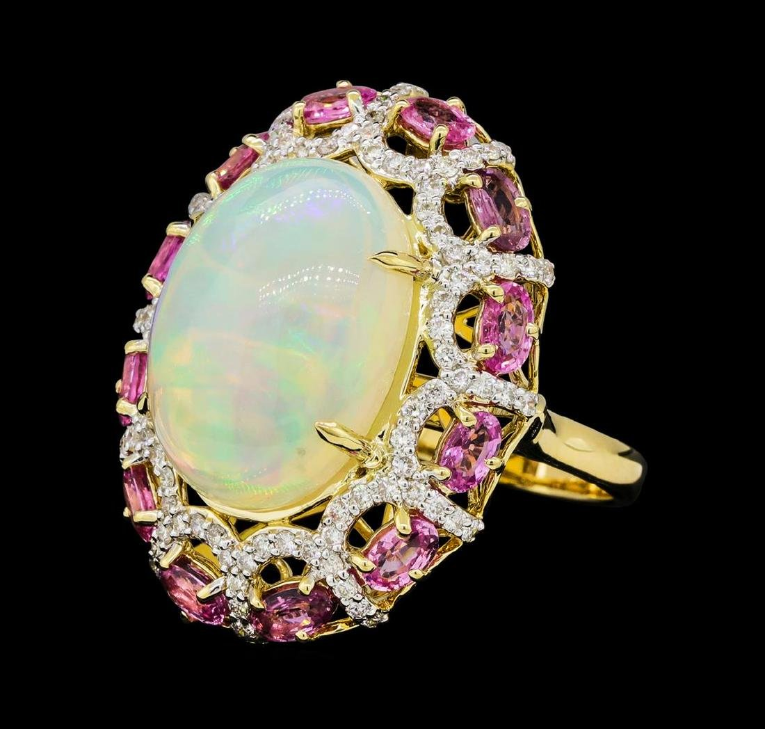 13.98 ctw Opal, Pink Sapphire and Diamond Ring - 14KT