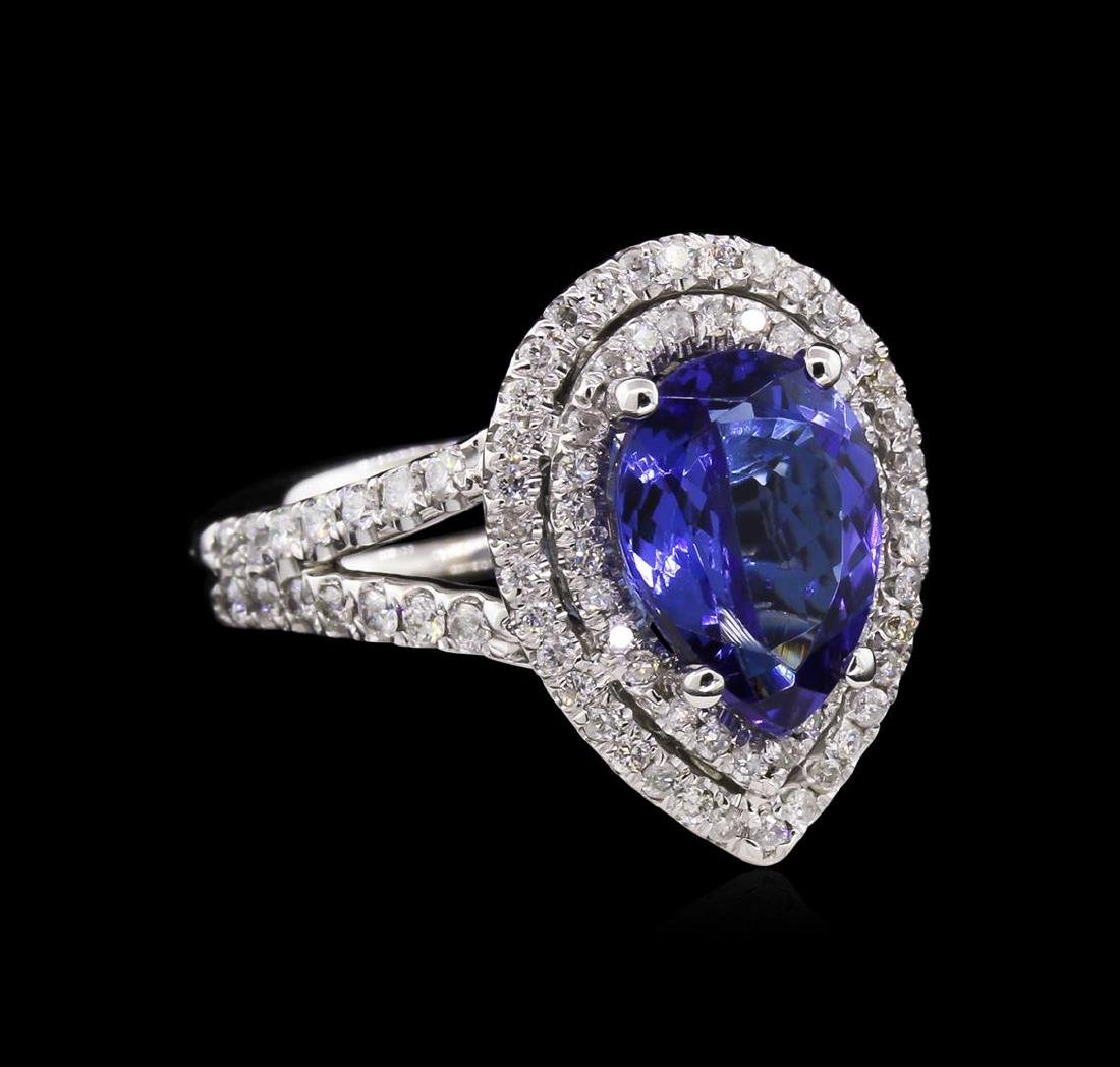 2.48 ctw Tanzanite and Diamond Ring - 14KT White Gold