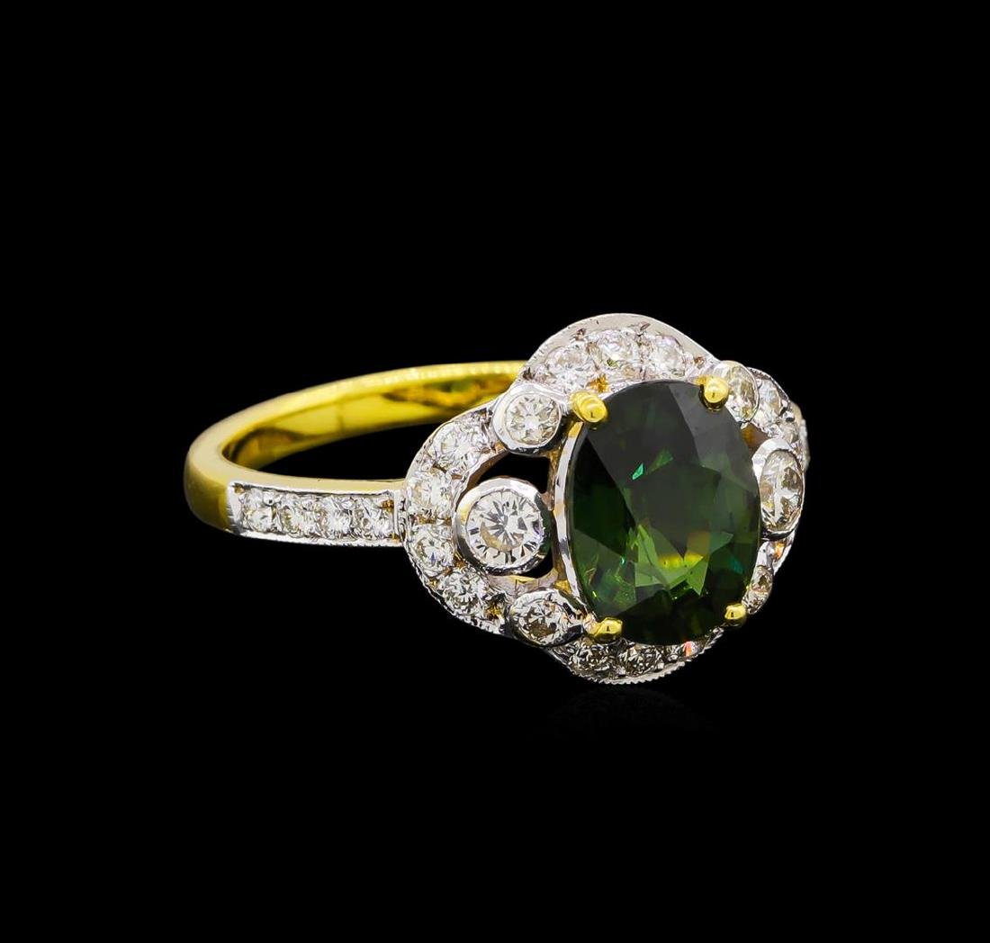 2.45 ctw Green Sapphire and Diamond Ring - 18KT Yellow