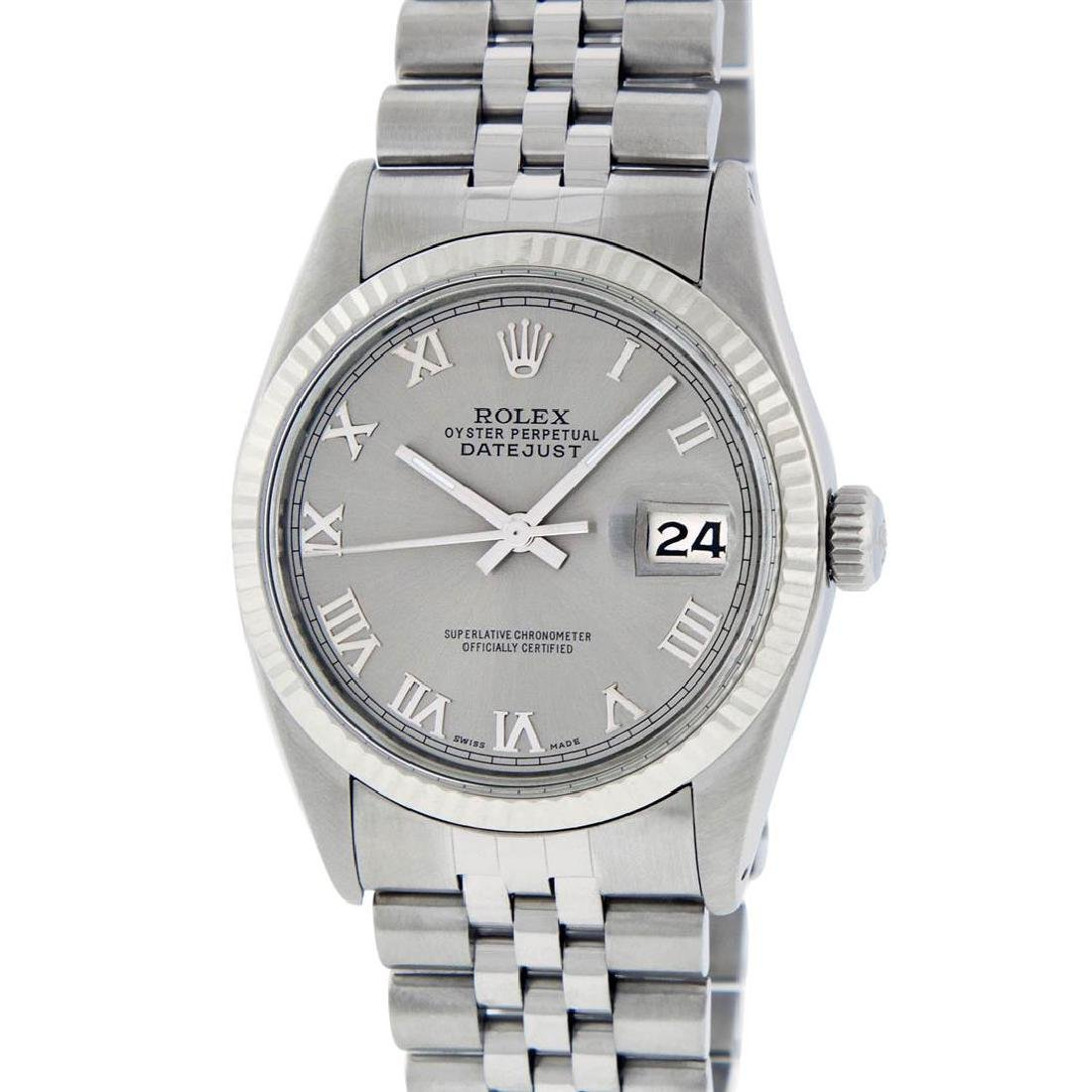 Rolex Mens Stainless Steel Slate Grey Roman Fluted