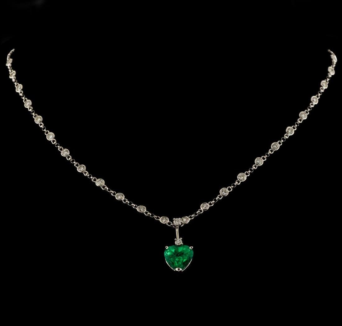 3.82 ctw Emerald and Diamond Pendant With Chain - 14KT
