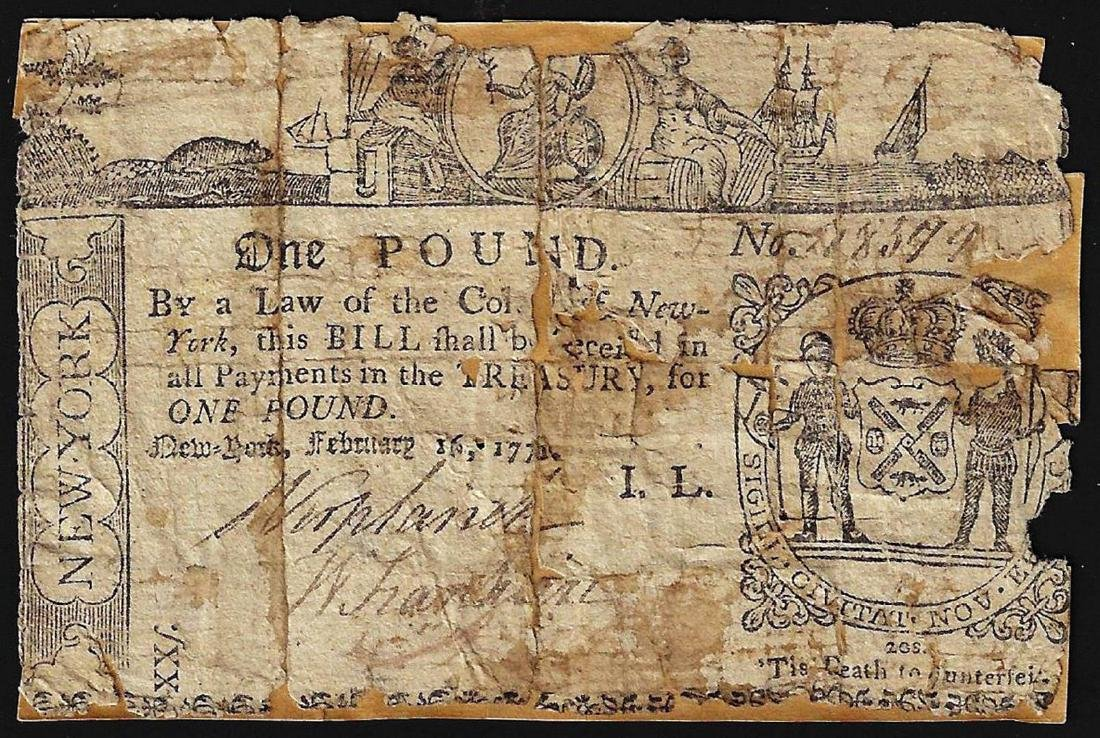 February 16, 1771 New York 1 Pound Colonial Currency