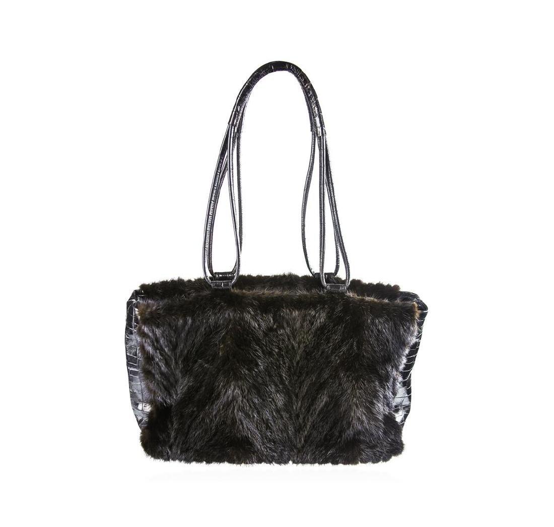 Paolo Masi Vintage Italian Black Mink Fur Leather