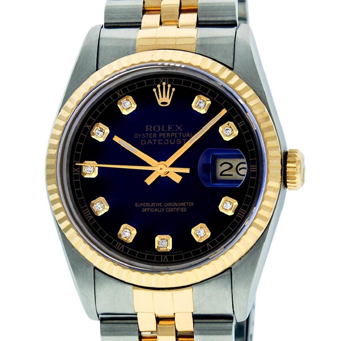 Rolex Mens 36mm Two Tone Yellow Gold Blue Vignette