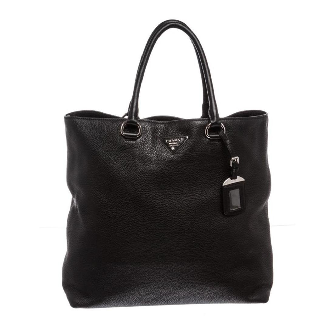Prada Nero Black Leather Vitello Daino North-South Tote
