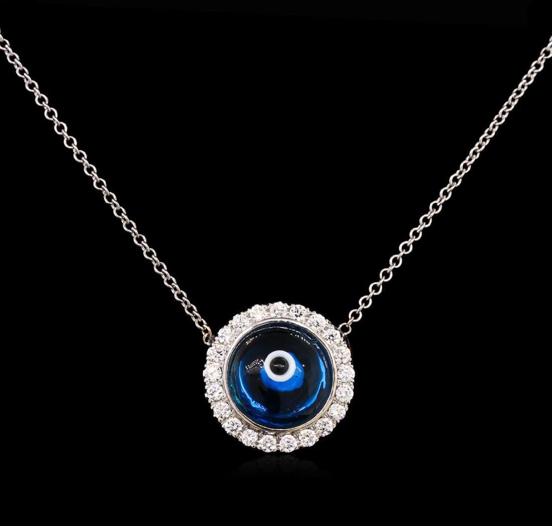 0.37 ctw Diamond Evil Eye Pendant With Chain - 14KT