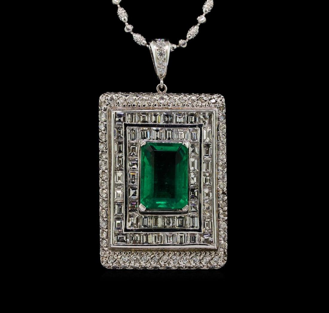 Platinum GIA Certified 6.98 ctw Emerald and Diamond