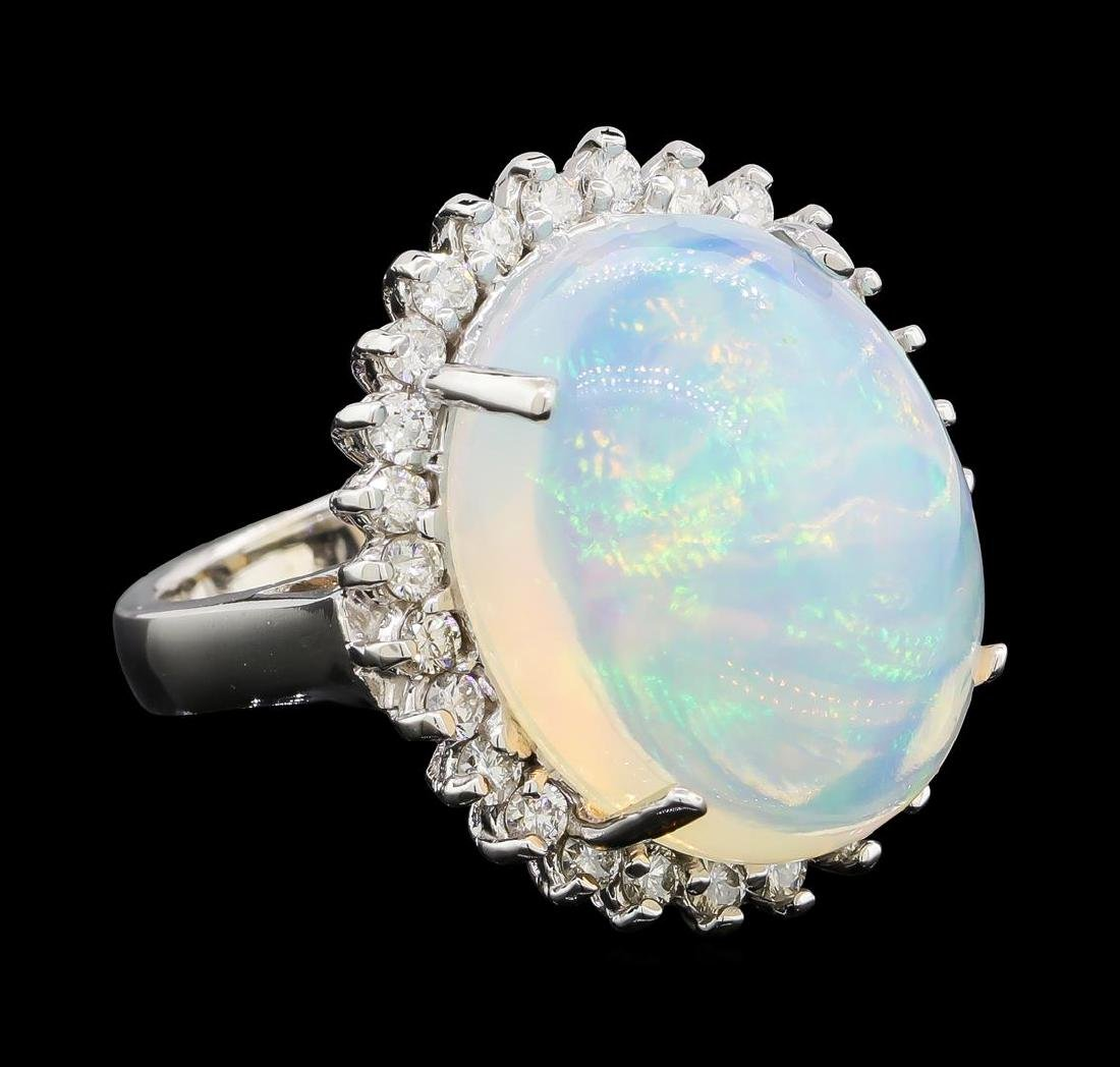 14.28 ctw Opal and Diamond Ring - 14KT White Gold